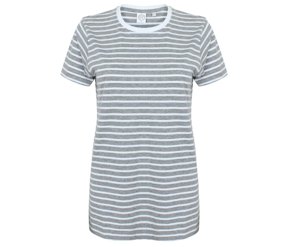Unisexe Striped T Heather Grey / White – SF Men SF202 – Größe: 2XS   – Products