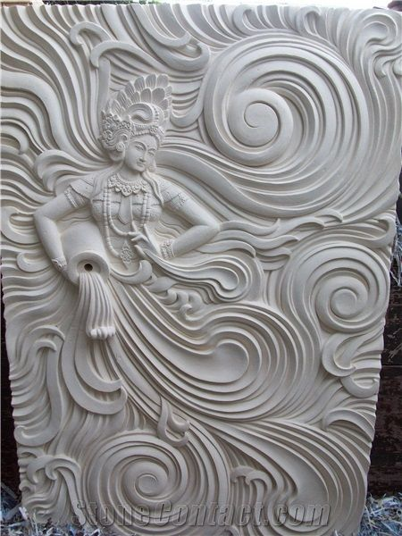 Goddess Of Sea White Sandstone Relief Clay Wall Art Paper Art Sculpture Mural Wall Art