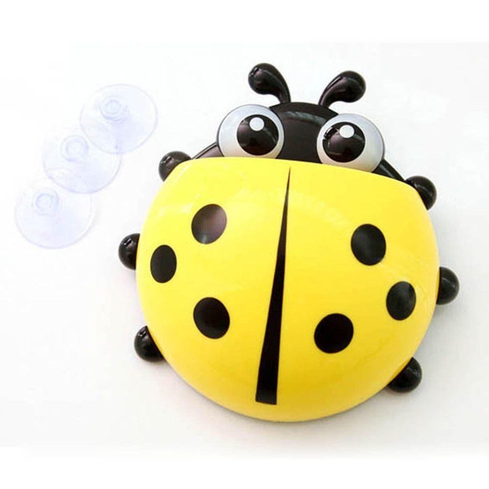 Ladybug Bathroom Accessories New Ladybug Cartoon Sucker Toothbrush Holdercute Suction Hook