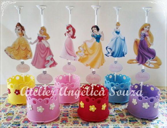 Centro de mesa Princesas Disney andrea Centro de mesa principe, Princesas e Festa