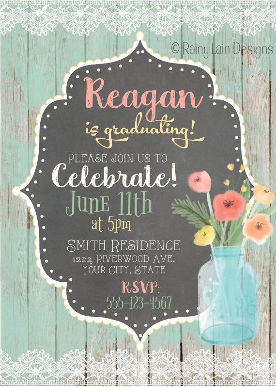 Rustic Graduation Party Printable Invitation Digital Invite Chalkboard Boho Distressed Wood