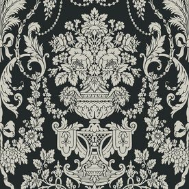 Allen Roth Black And Pewter Damask Wallpaper