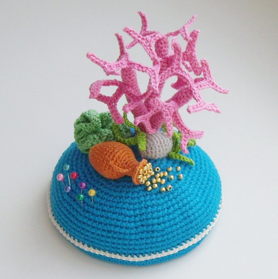 Items similar to PDF PATTERN Crochet pin cushion Sea treasure step by step tutorial OOAK home decor sea floor / mother's day gift on Etsy