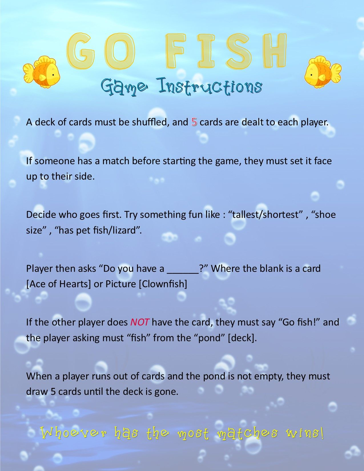 I Made A Printable Rules For Go Fish With Images Deck Of