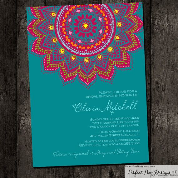 Bridal Shower Invitation Inspired by traditional Indian saris henna