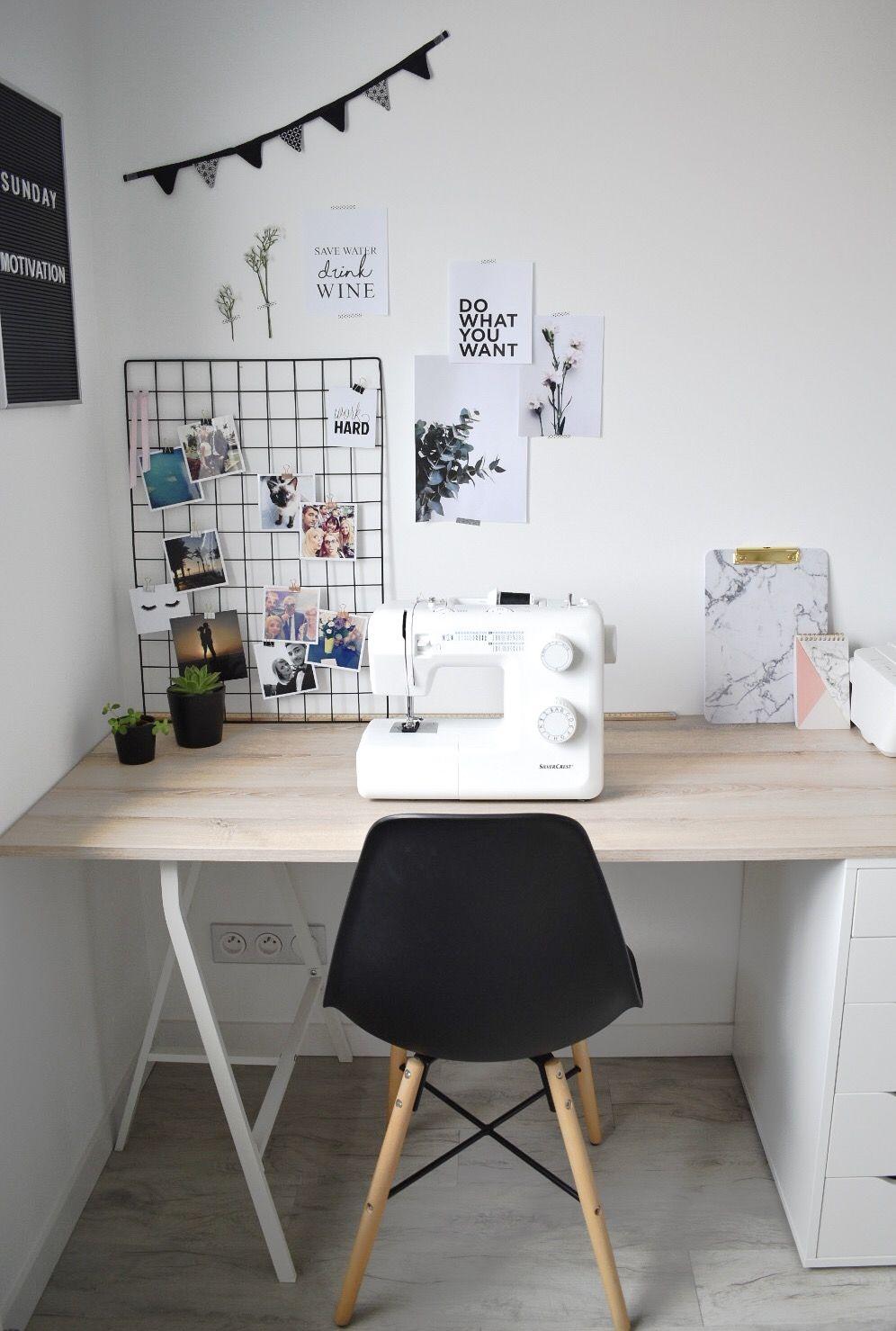 ma partie du bureau organis e en petit coin couture avec. Black Bedroom Furniture Sets. Home Design Ideas