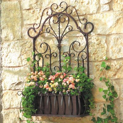 Wrought Iron Potted Flowers Wall Hanger Planter Holder Coco Fiber