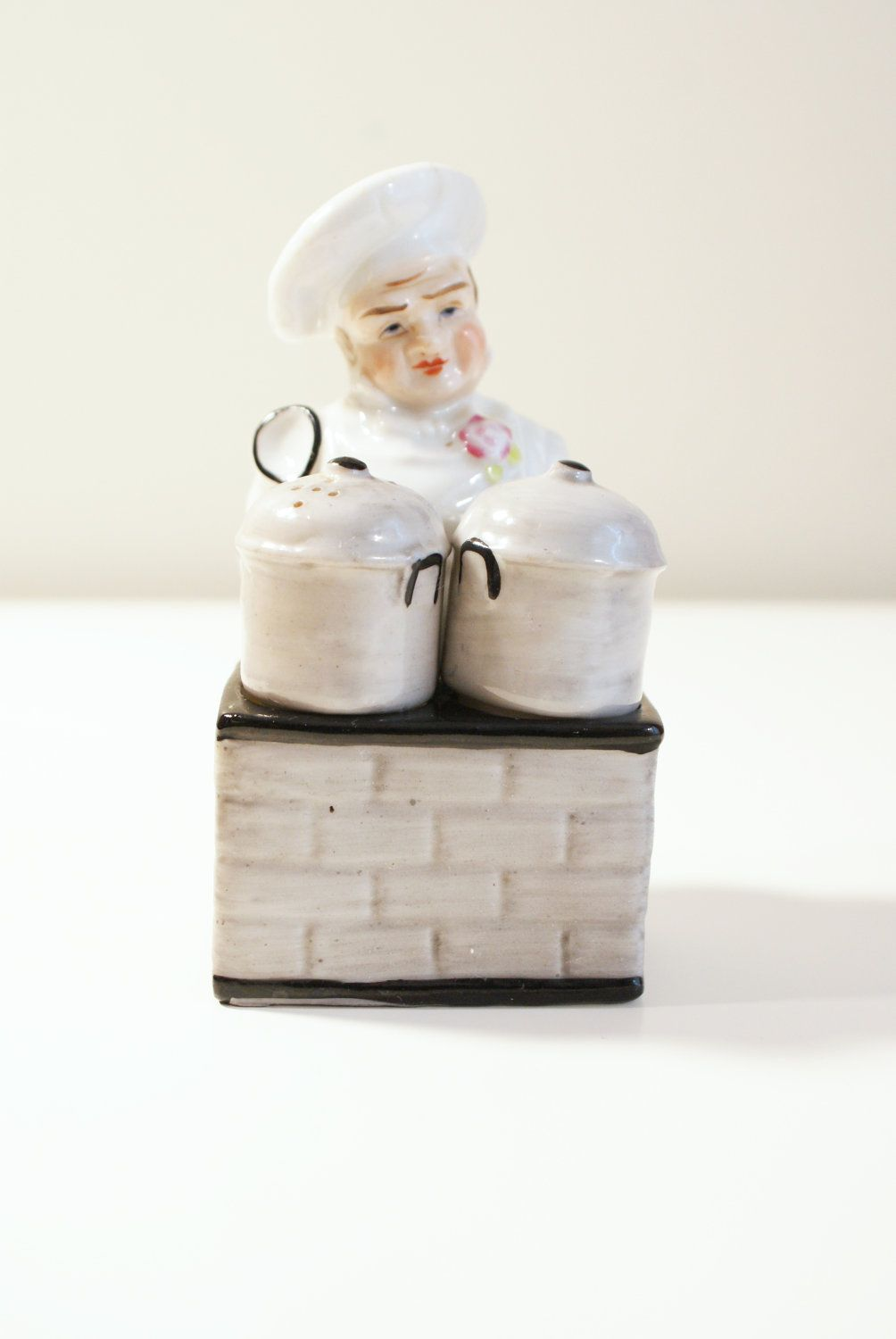 Vintage Chef with Pots Salt, Pepper, and Mustard Set - Made in ...