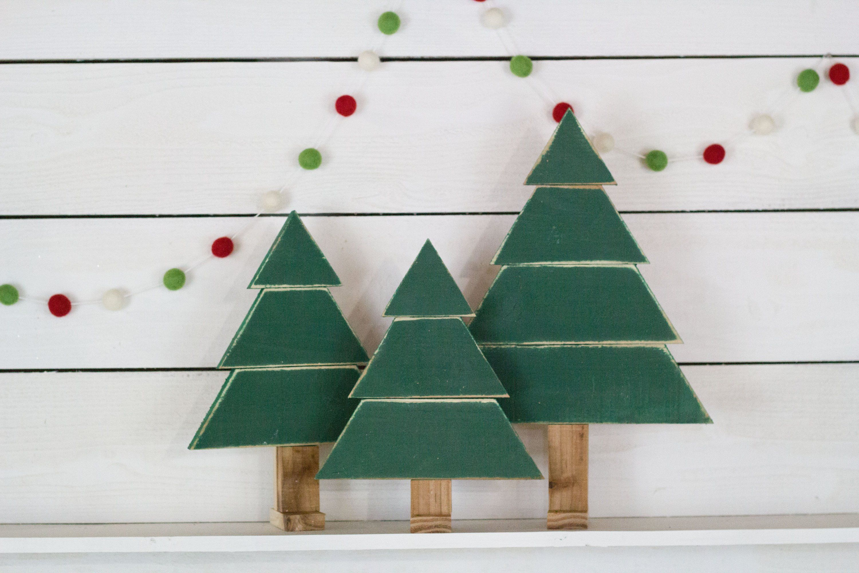 Set Of 3 Rustic Christmas Trees Colorful Christmas Tree Wood Christmas Tree Rustic Christmas Tree