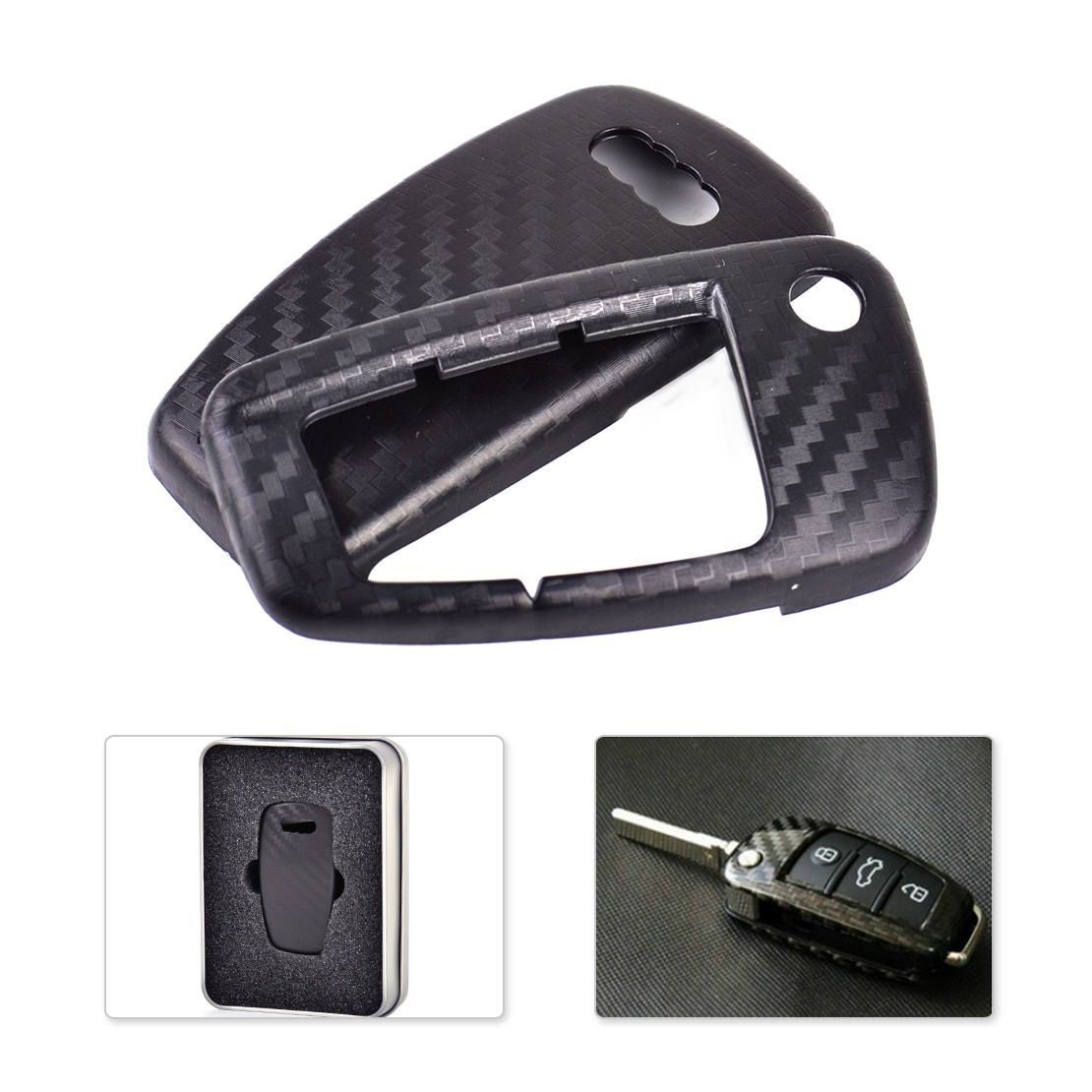 DWCX Car Carbon Fiber Texture 3 Buttons Remote Flip Key