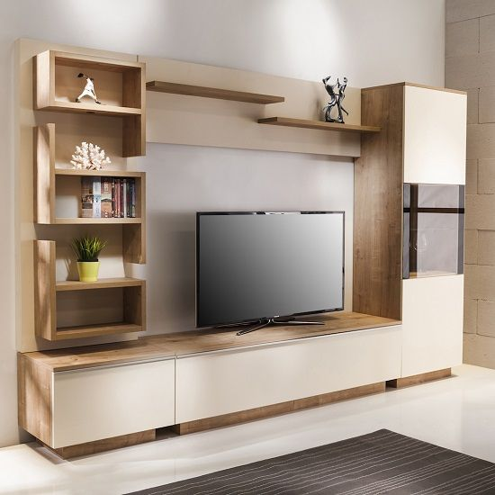 Michigan Living Room Set In Oak And Cream With Led Lighting Living Room Sets Furniture Living Room Tv Unit Furniture Design Living Room