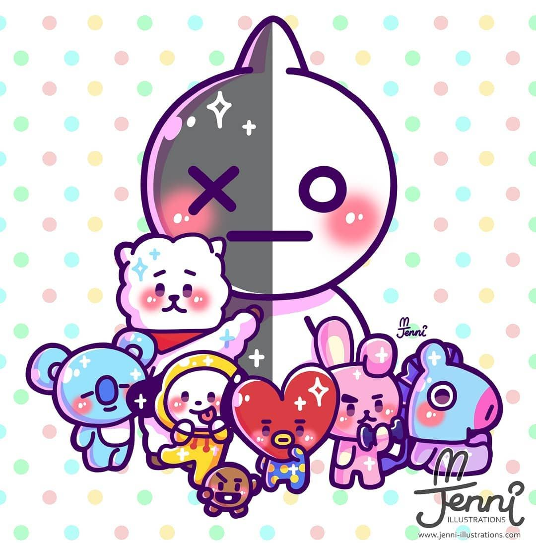 Any BT21 fans?? ? all the characters are so cute!! (*´ `*) . . . #bt21 ##bts #linefriends #tata #van #rj #chimmy #cho…   Line friends. Cute ...