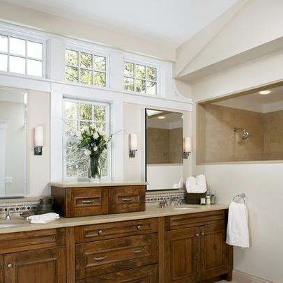 Would Love To Have These Windows Above Our Vanity Sinks Mirror Boston Bathroom Half Wall Des Traditional Bathroom Double Vanity Bathroom Rustic Home Interiors