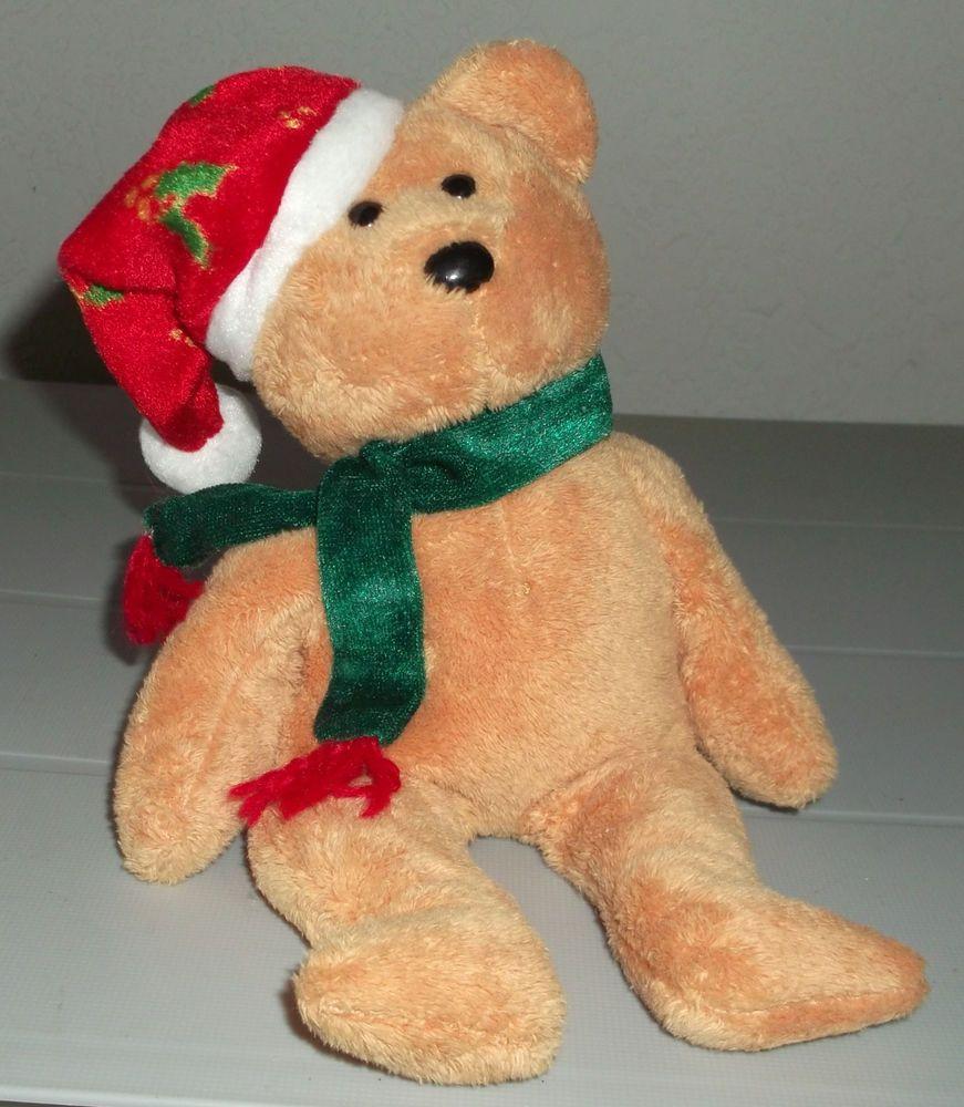 TY Beanie Baby 2003 Holiday Teddy Santa Hat Scarf No Hang Tag Retired  Ty   BeanieBaby 830965b23651