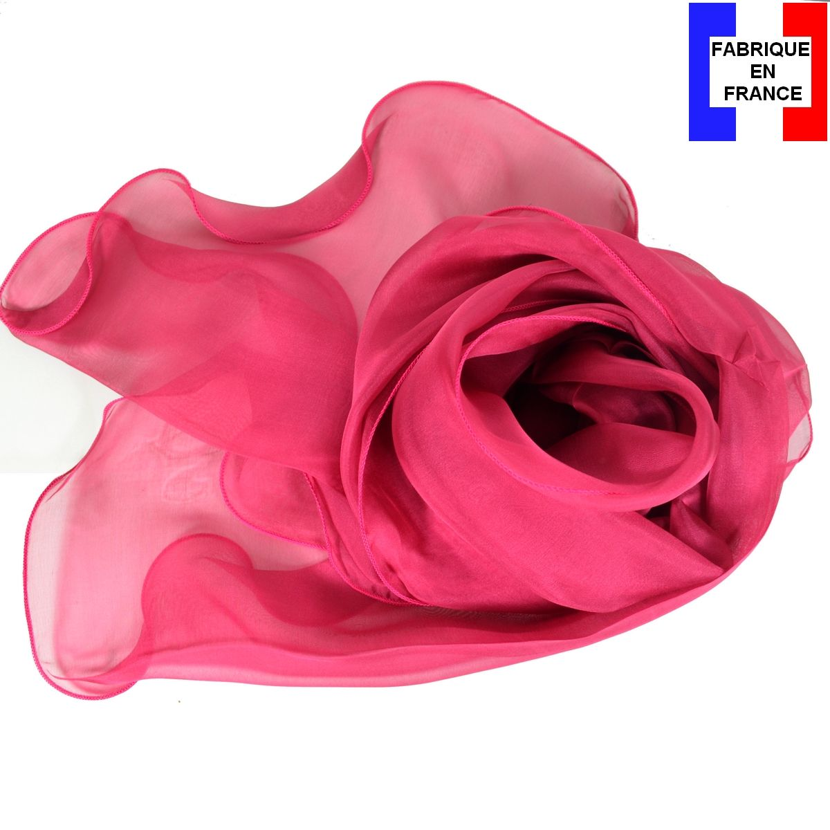 51d87d3e36b Foulard soie bords ondulés rose