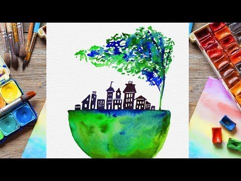 Easy Watercolor Painting Green And Blue Planet Illustration