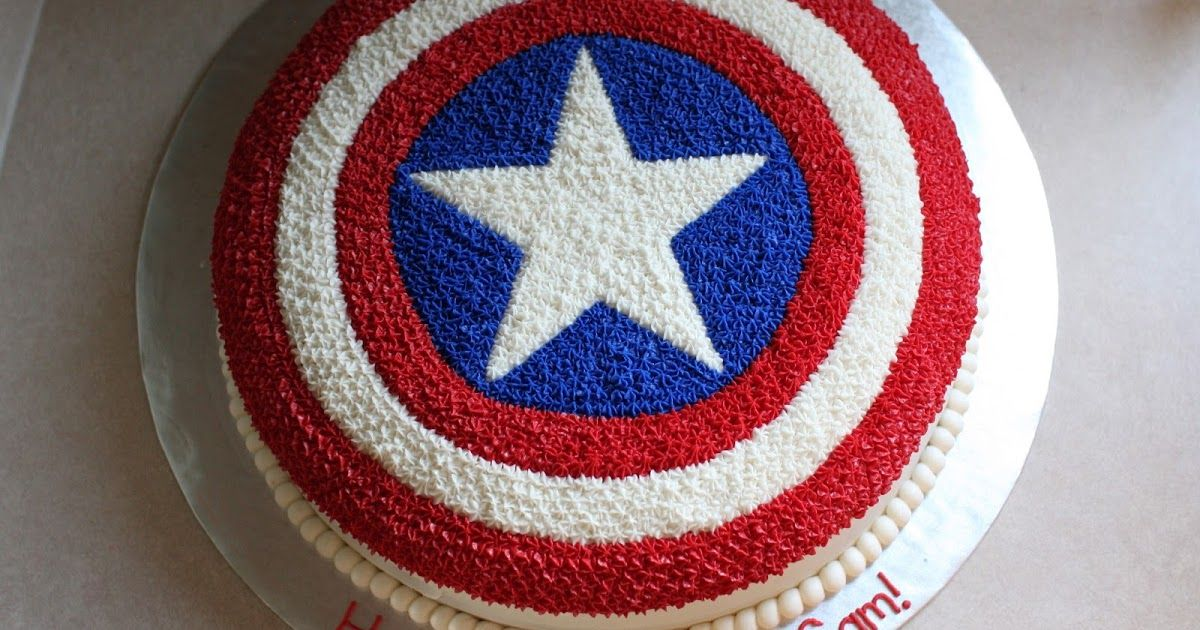 Captain America Cake With Images Captain America Birthday Cake