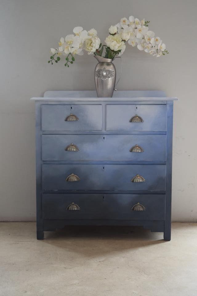 Chalk paint blue ombré dresser   Refurbished furniture ...