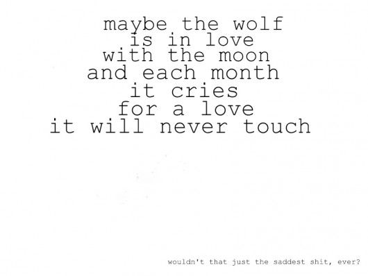 That is a sad sad thought. The wolf will never get his one true love and spend his life suffering. what is even sadder is that some people have the unfortunateness of having to live through that