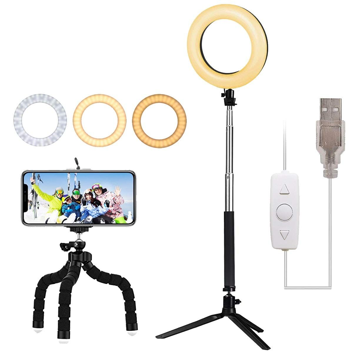 6 Led Ring Light Lambony 6500k Led Ring Light Led Ring Cell Phone Holder