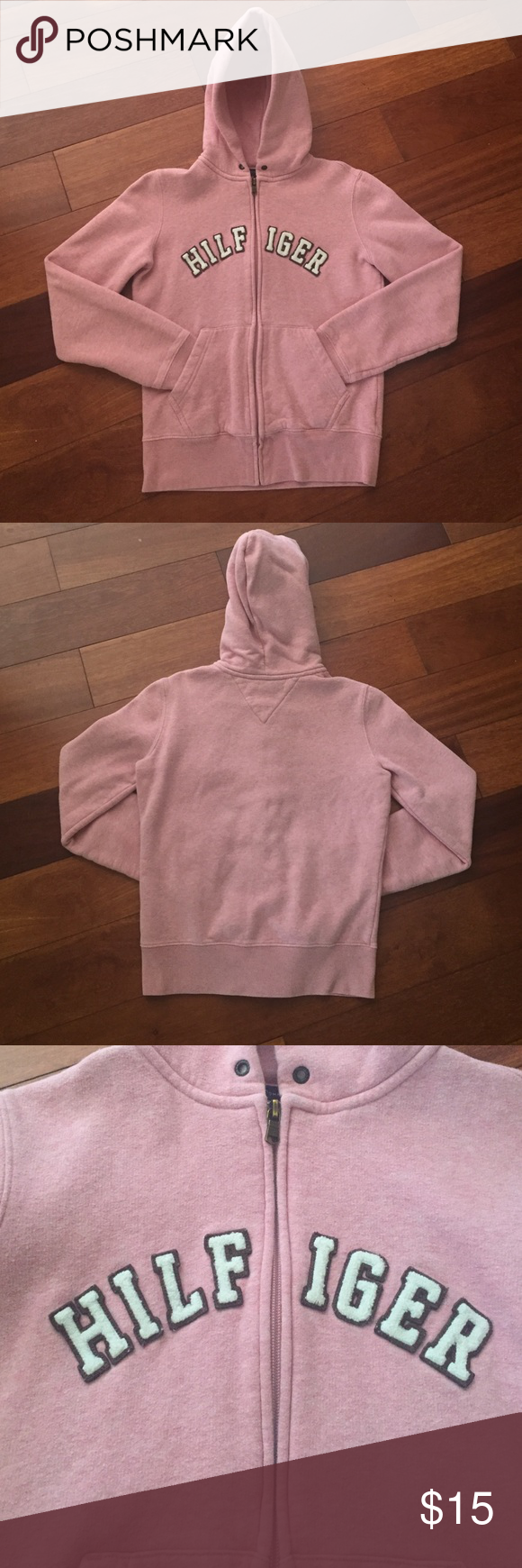 e7a6a780bfa Tommy Hilfiger Sweatshirt!! Pink Tommy Hilfiger Zip-Up Hooded Sweatshirt!  In White Across The Chest Is The Word HILFIGER! Two Pockets in the Front,  ...