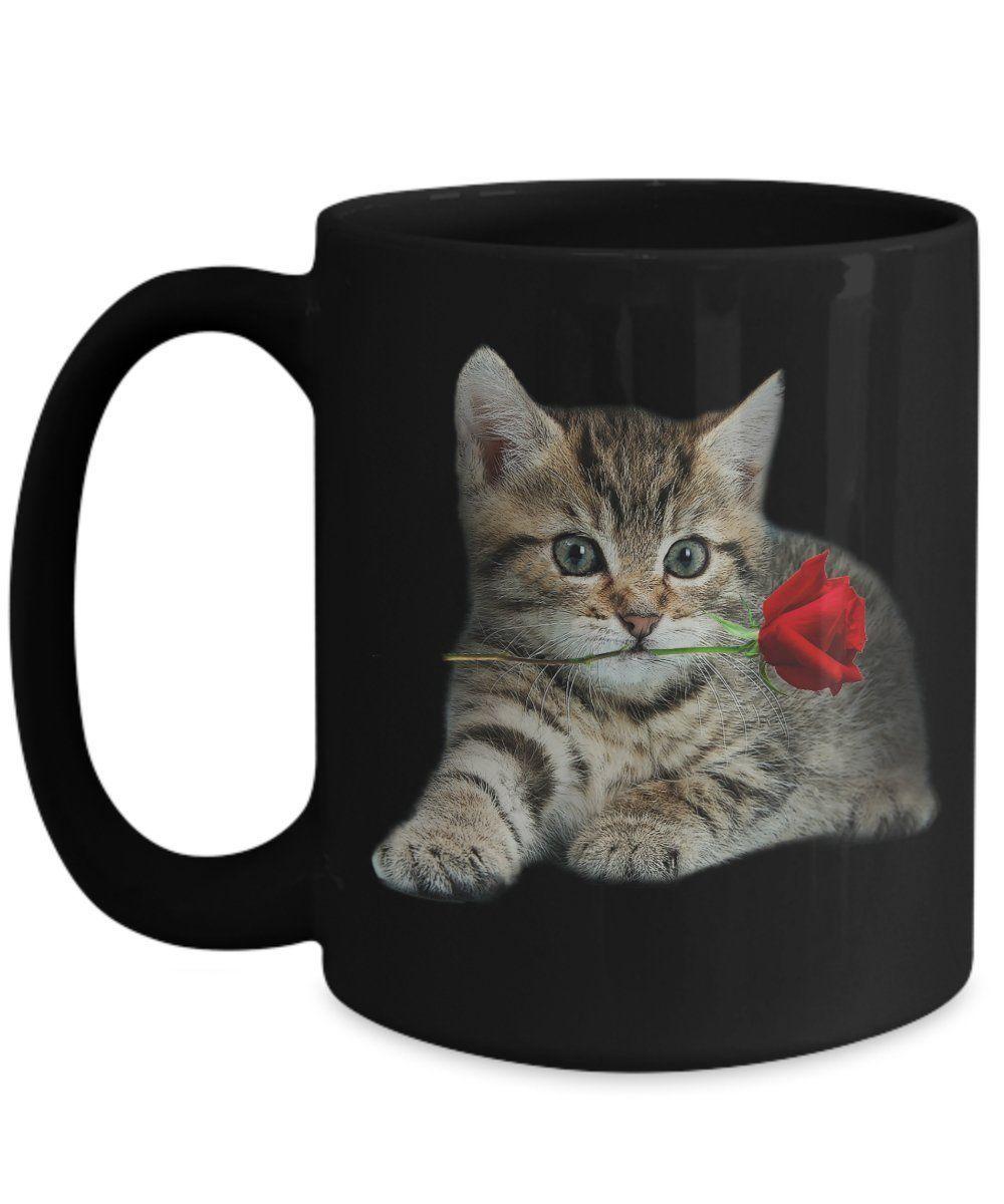 Amazon Com Poisena Valentine Cat Kitten Cat Mugs For Coffee Or Tea Kitchen Dining Cat Mug Mugs Cat Coffee Mug