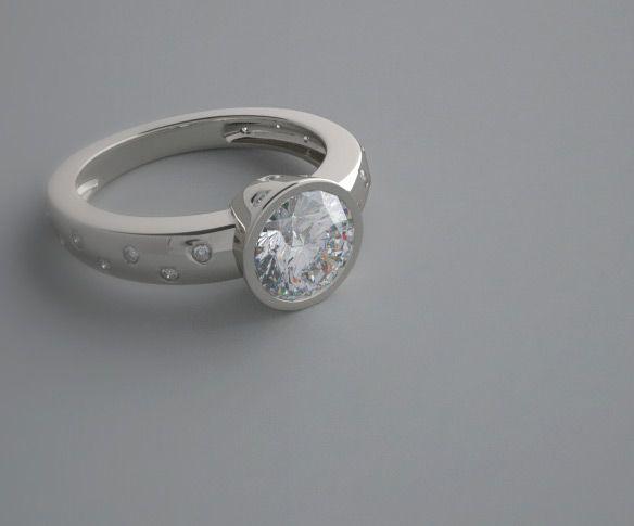 Unique Modern Diamond Engagement Rings Modern Bezel Set