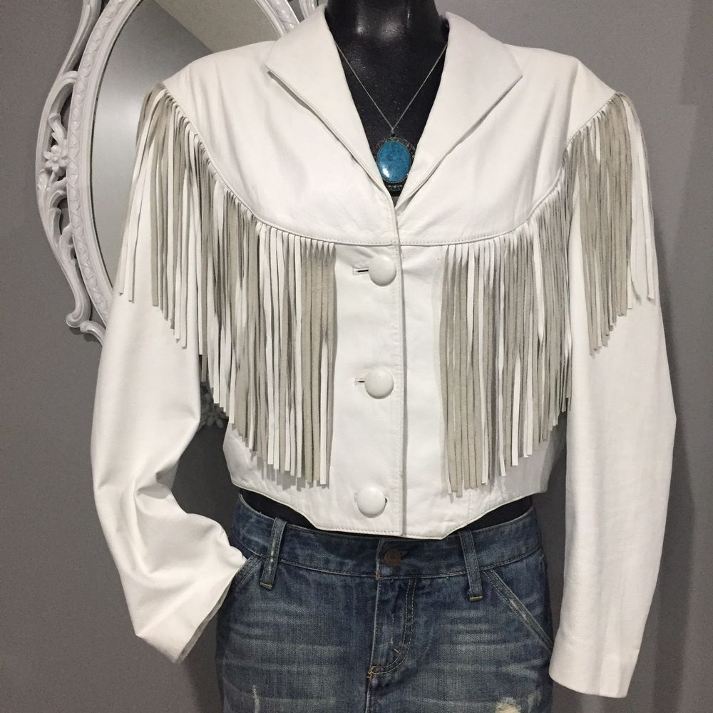LARGE Vintage 80's ADLER White Leather Fringe Jacket