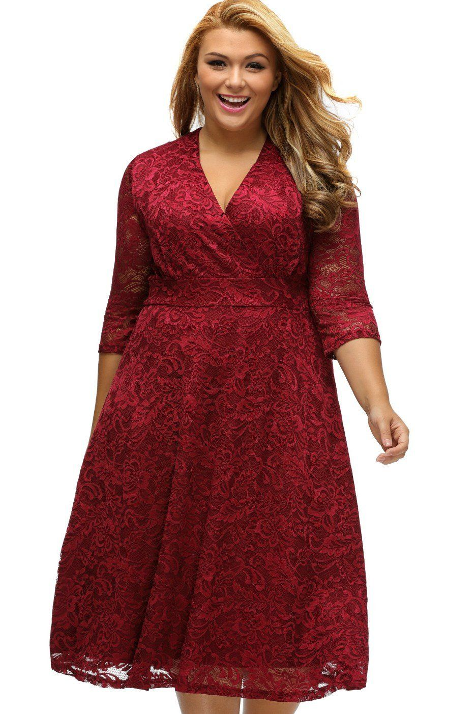 Burgundy surplice lace formal plus size skater dress modeshe