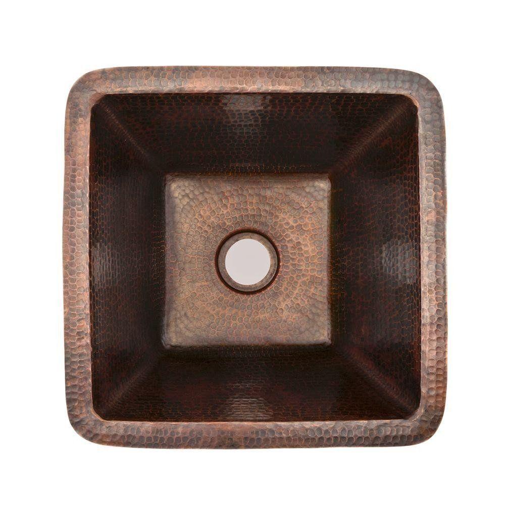 17 Inch Square Hammered Copper Bar/Prep Sink | Copper bar ...