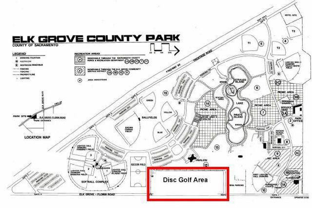 elk grove park frisbee golf  disc golf  course  link to course map and score card