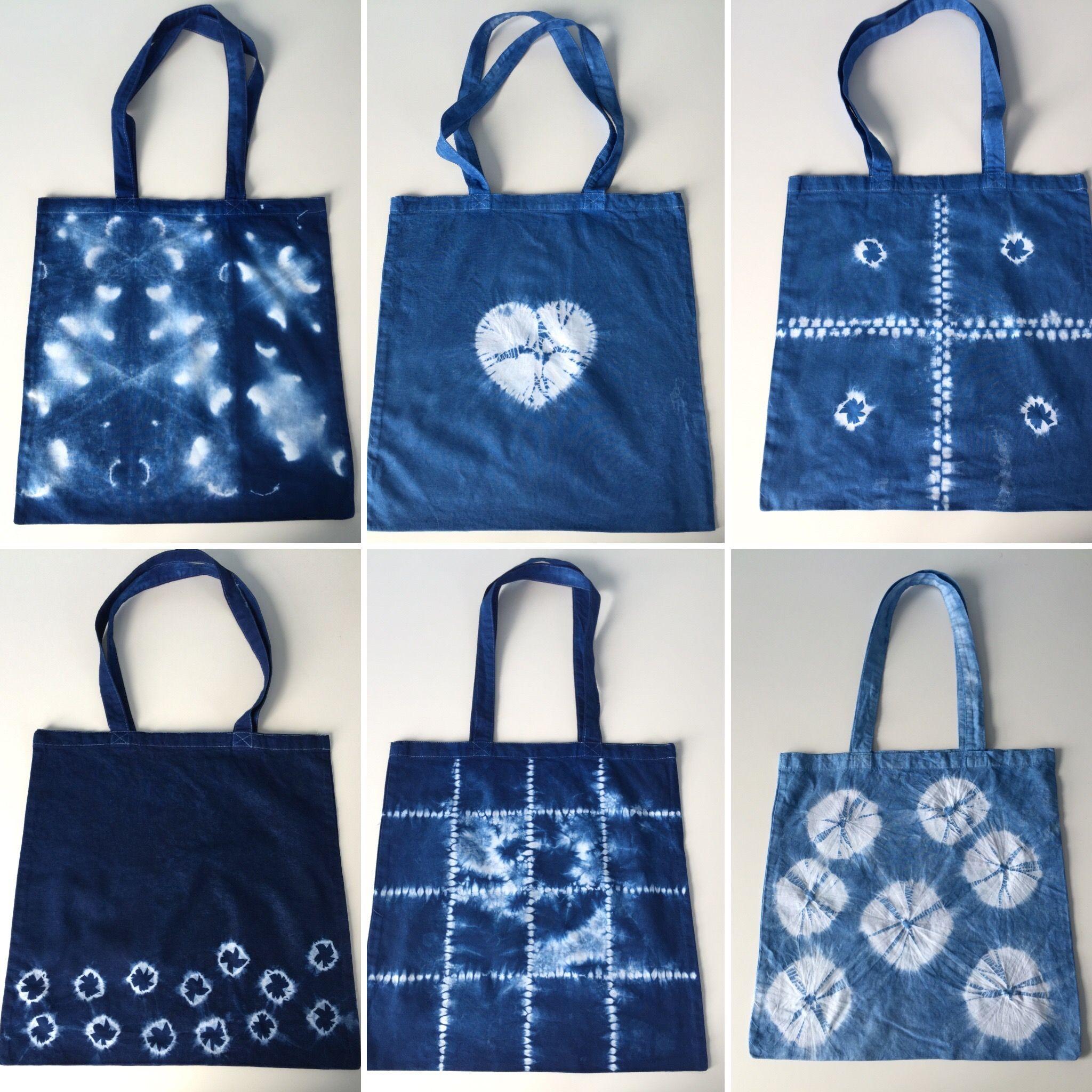 0c88e45c1a68 Six shibori totes - from top left - Kikko folded and stitched ...