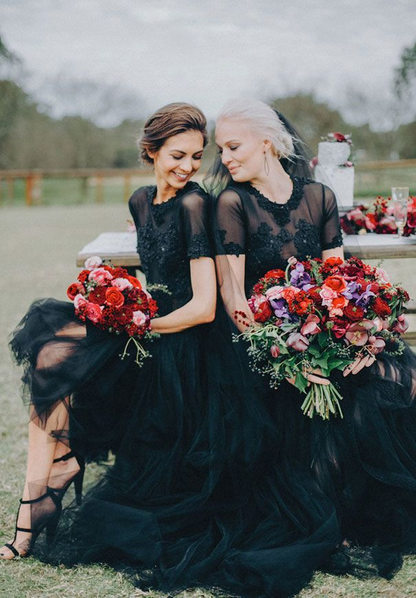 Black Wedding Dress Red Flowers White Horse Floral Crown9 Black