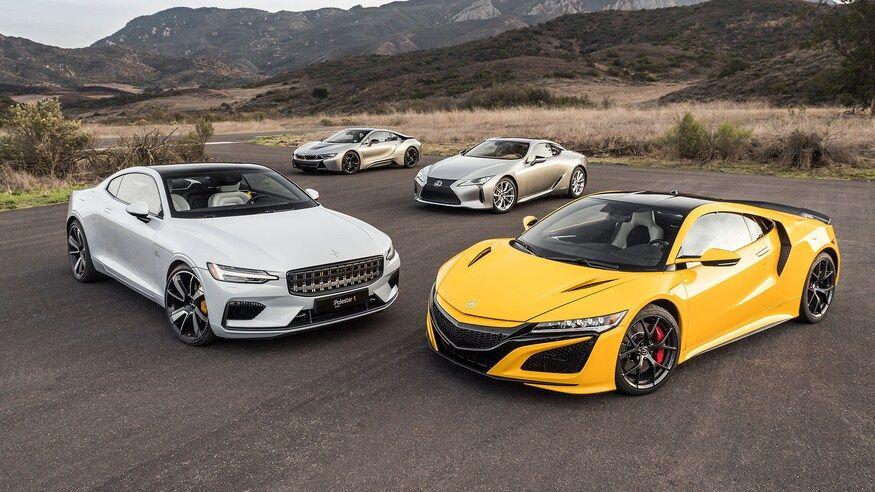 Acura NSX vs. BMW i8 vs. Lexus LC vs. Polestar 1