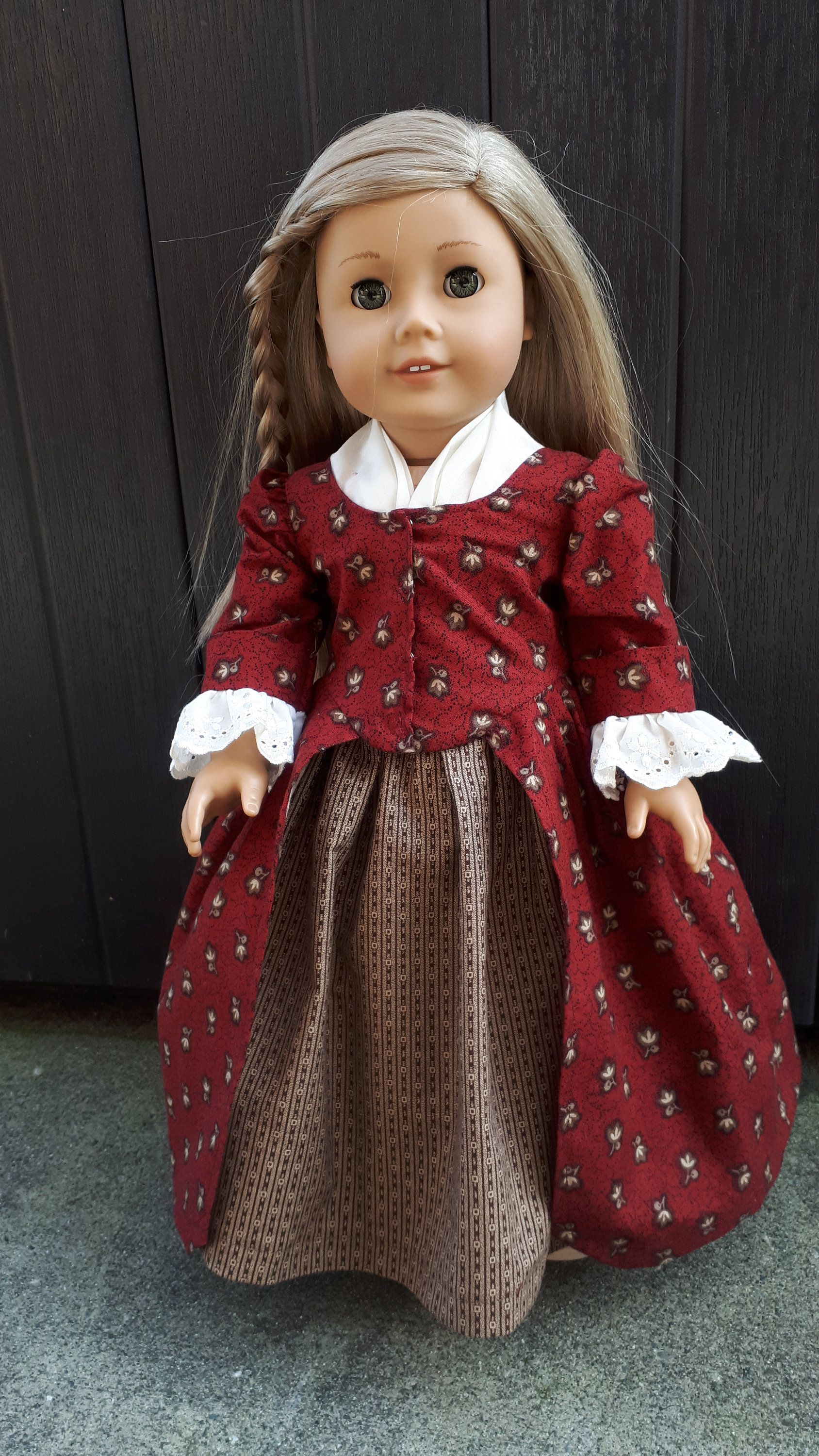 18 doll clothes - 17720s En Forreau Gownin burgundy and brown to fit American Girl Dolls and other similar sized dolls by Grandmasadiescloset on Etsy #historicaldollclothes