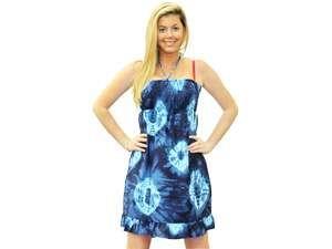 La Leela Self Printed Short Tube Dress Backless Navy Blue