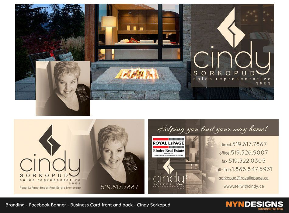 Facebook Banner. Business Card Front & Back. Cindy Sorkopud, Sales ...