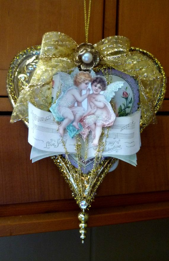 Vintage Inspired Antique Gold Heart Ornament on Etsy