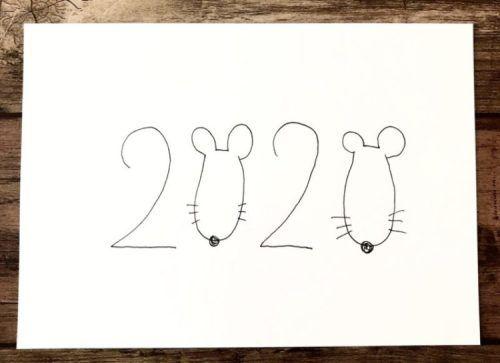 2020年干支ねずみ年おしゃれな子年の手書きイラスト年賀状の