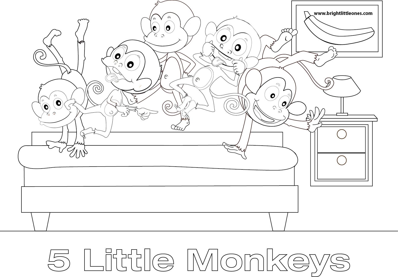 Free Printable Five Little Monkeys Coloring Sheet