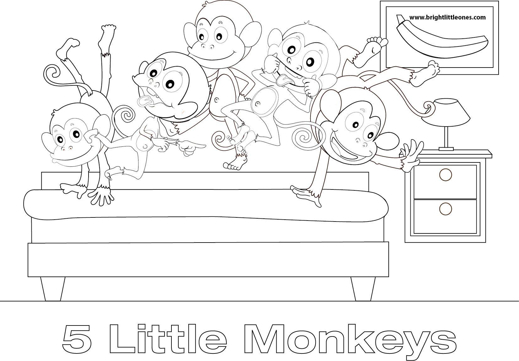 free printable! five little monkeys coloring sheet