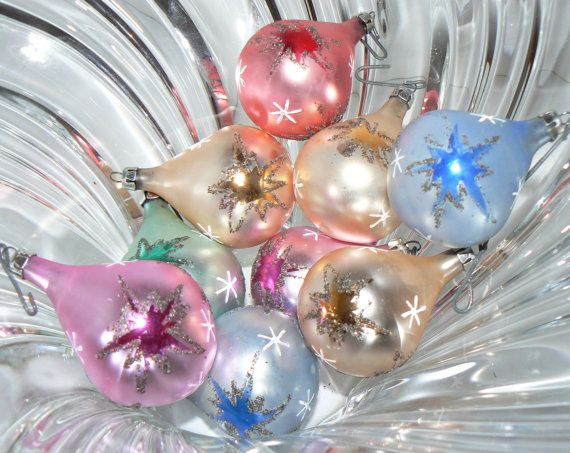 Box of 9 Antique Starlight Glass Christmas Ornaments Bulbs Made in Poland