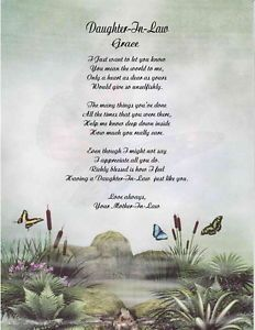 Daughter In Law Personalized Poem Mothers Day Gift Mothers Day Poems Daughter In Law Poems