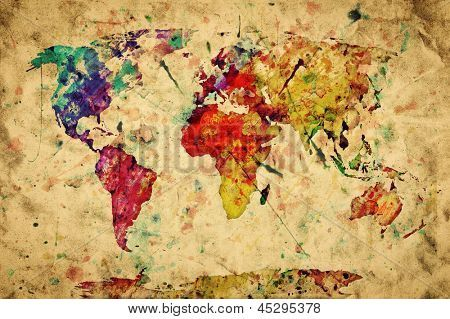 Mappemonde vintage peinture colore aquarelle rtro style mappemonde vintage peinture colore aquarelle rtro style expression sur grunge vieux papiers world map artworld map postermap gumiabroncs Choice Image