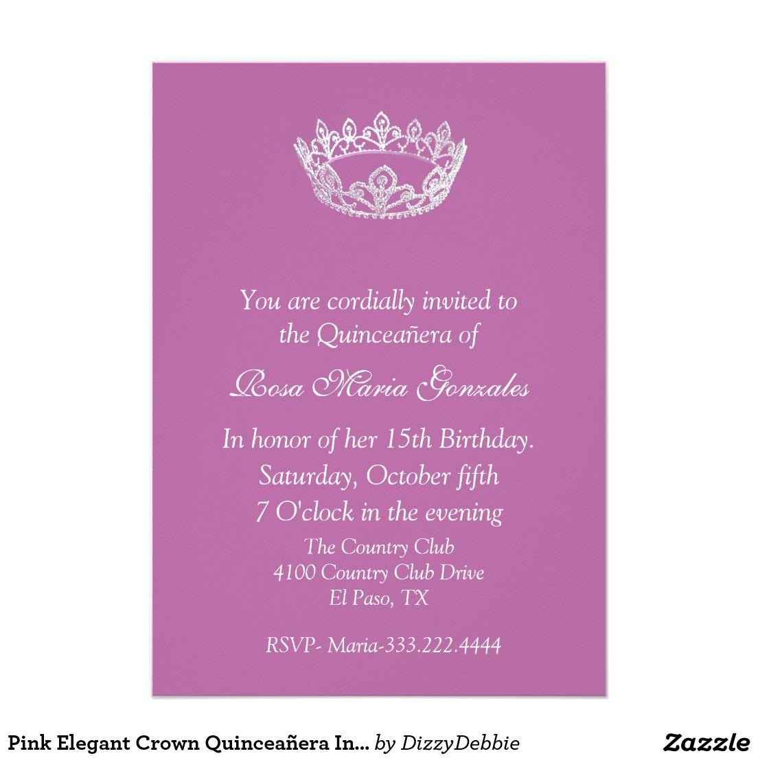 Pink elegant crown quinceaera invitation quinceanera invitations pink elegant crown quinceaera invitation stopboris Choice Image