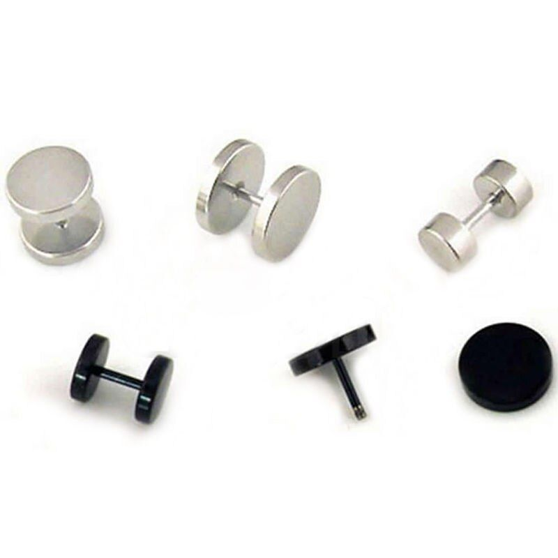 Punk Gothic Jewelry Stainless Steel Round Plain Men/'s Ear Stud Barbell Earrings