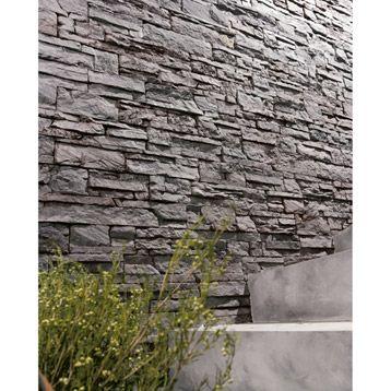 Plaquette de parement Odyssée 20 en béton, gris anthracite Jardin