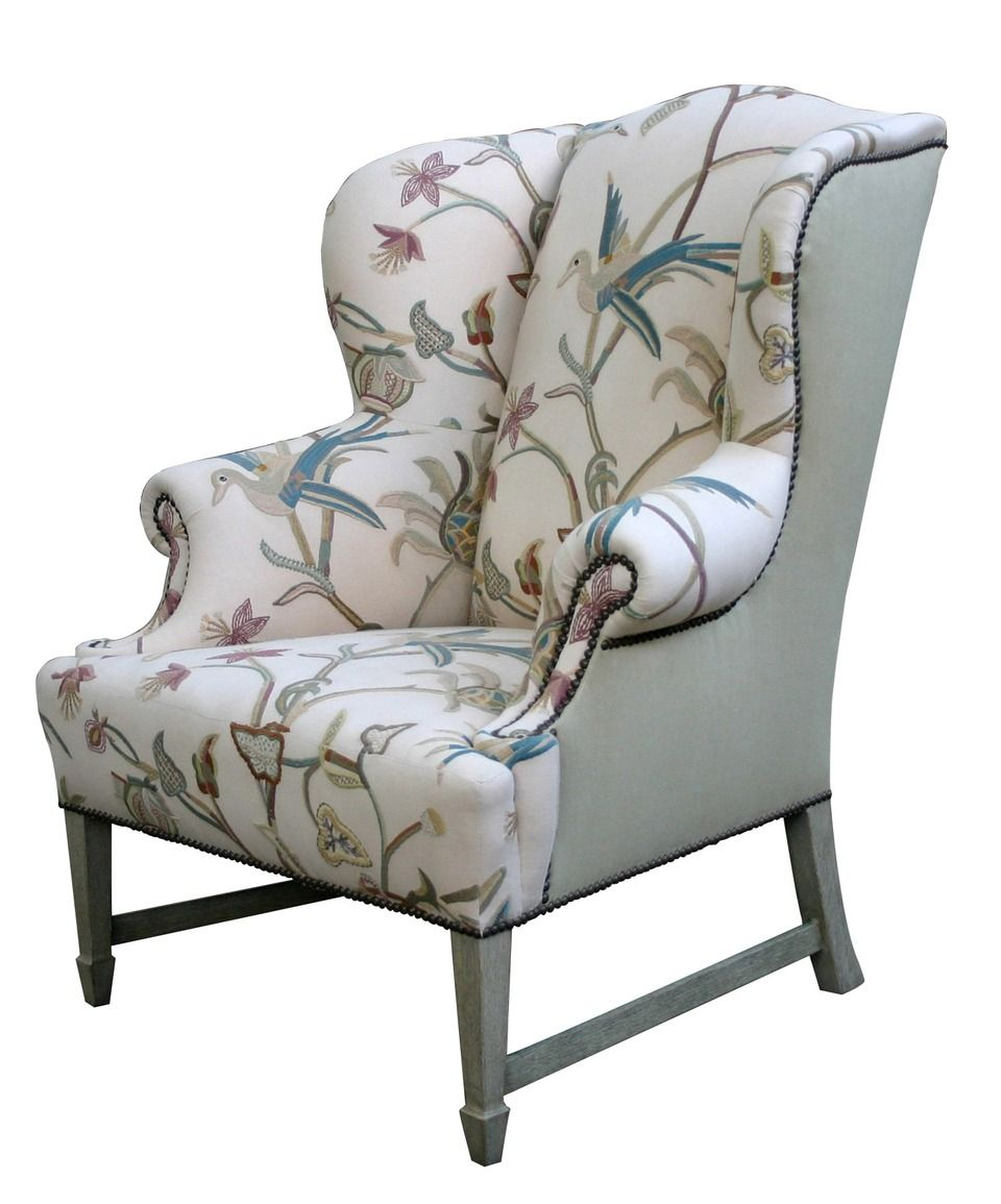 Comfortable Wingback Chair Designs For Living Room Furniture : Vintage  White And Grey Caper Elliott Wingback Chair With Soft Fabric Materials Chair  Cover ...