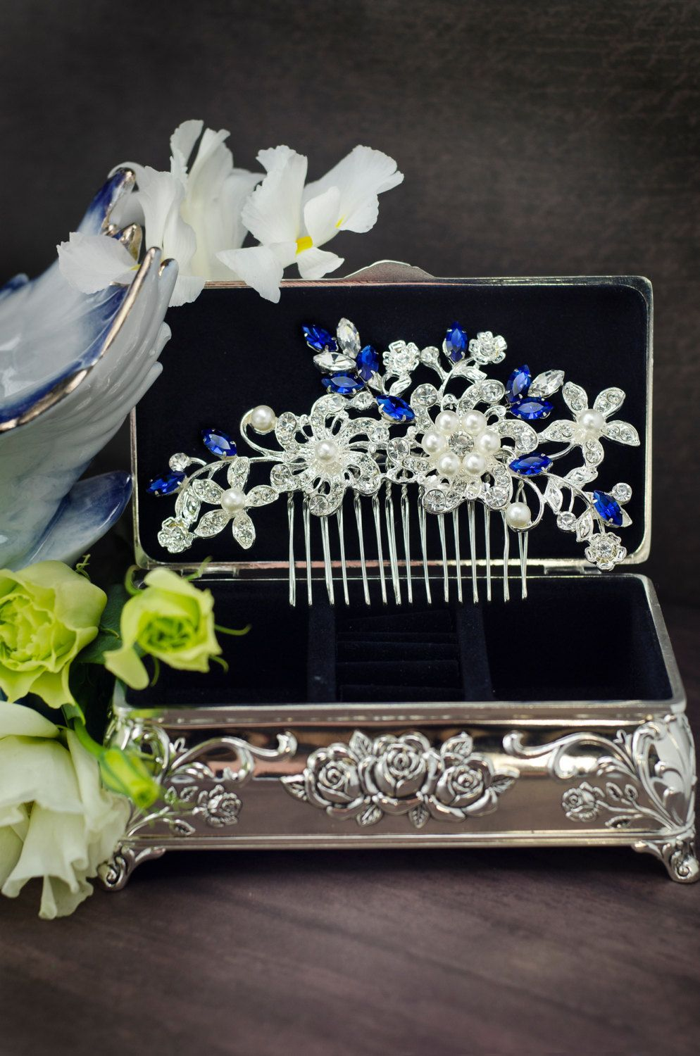 sapphire blue swarovski crystal bridal hair comb, royal blue
