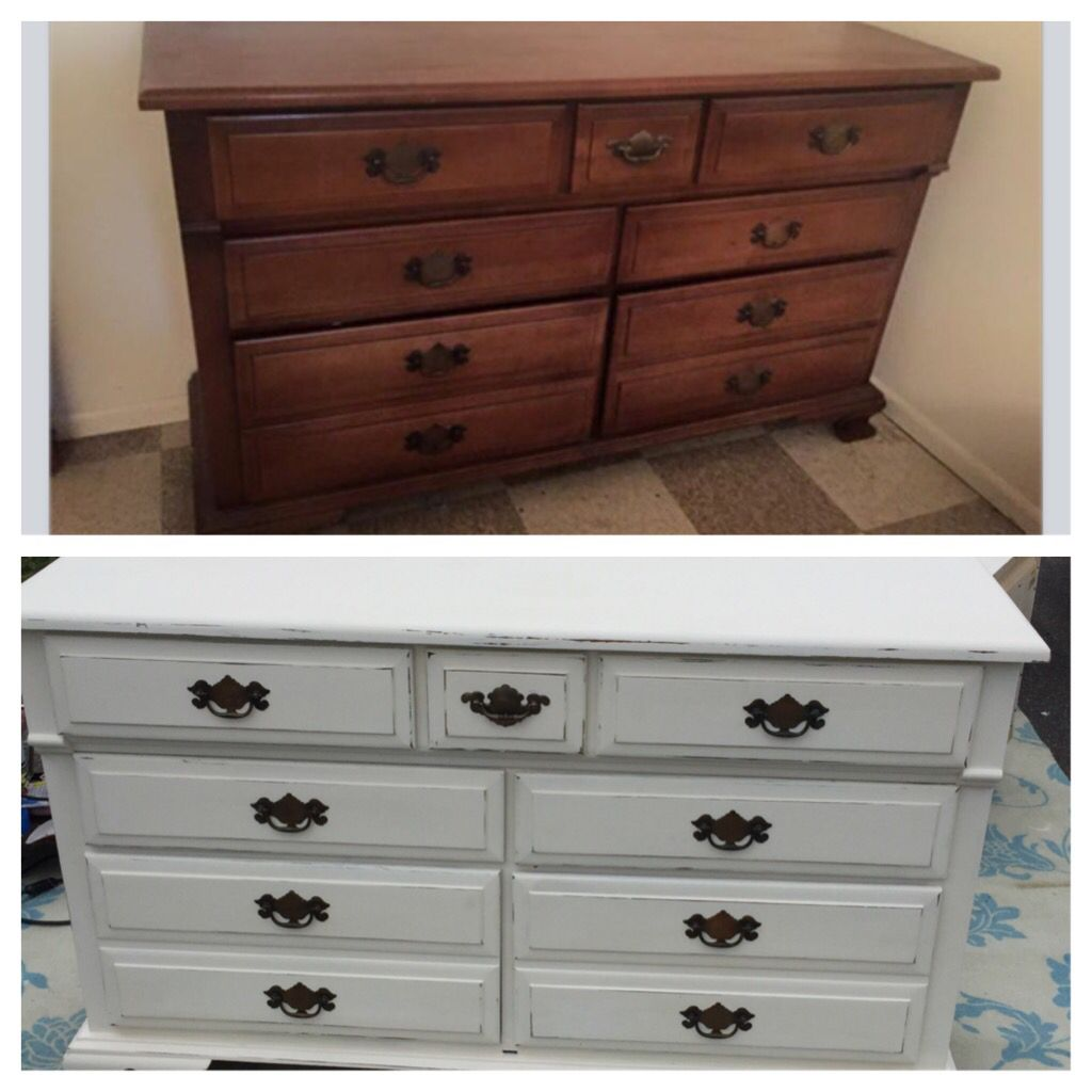 Furniture makeover. Annie Sloan old white chalk paint- scuffed up ...